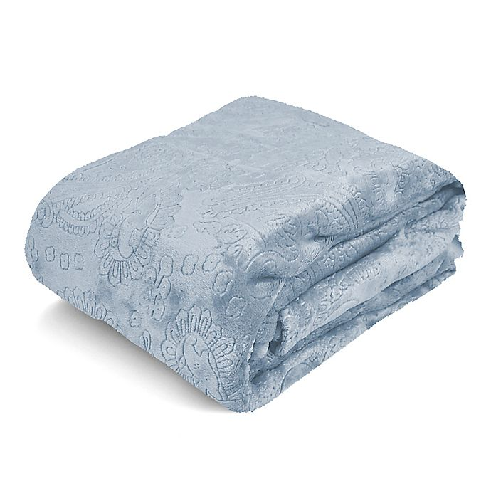 Alternate image 1 for Paisley Embossed Royal Plush Twin Blanket in Blue