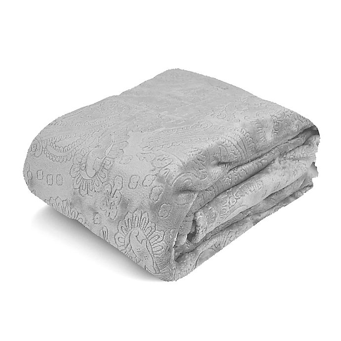 Alternate image 1 for Paisley Embossed Royal Plush Full/Queen Blanket in Grey