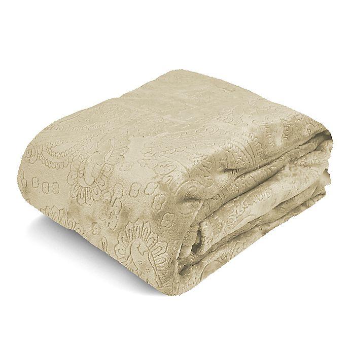 Alternate image 1 for Paisley Embossed Royal Plush Blanket