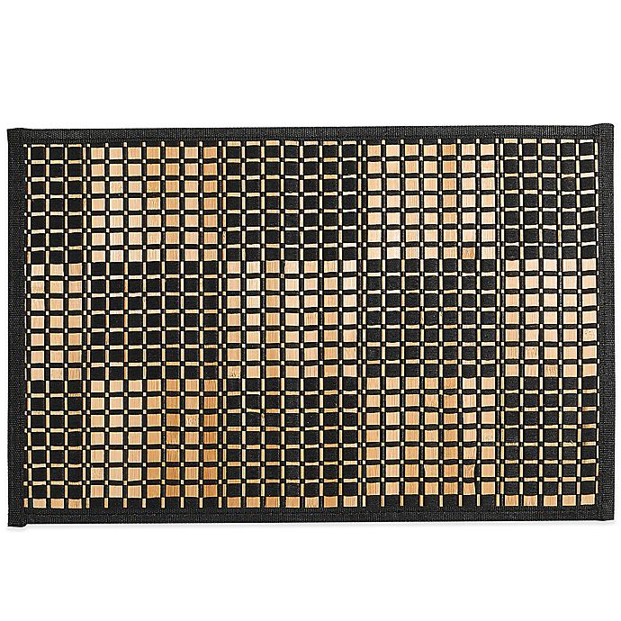 Alternate image 1 for Bamboo Black Woven Checked Placemat