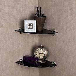 Danya B. Glass Radial Floating Shelves in Black (Set of 2)