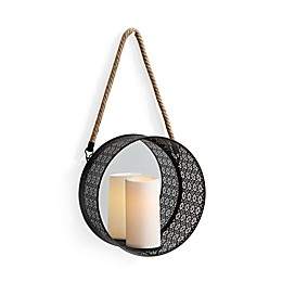 Danya B.™ Round Mirror Pillar Candle Sconce with Filigree Metal Frame and Hanging Rope