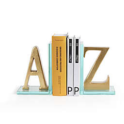 Danya B. A-to-Z Glass Bookend Set in Gold
