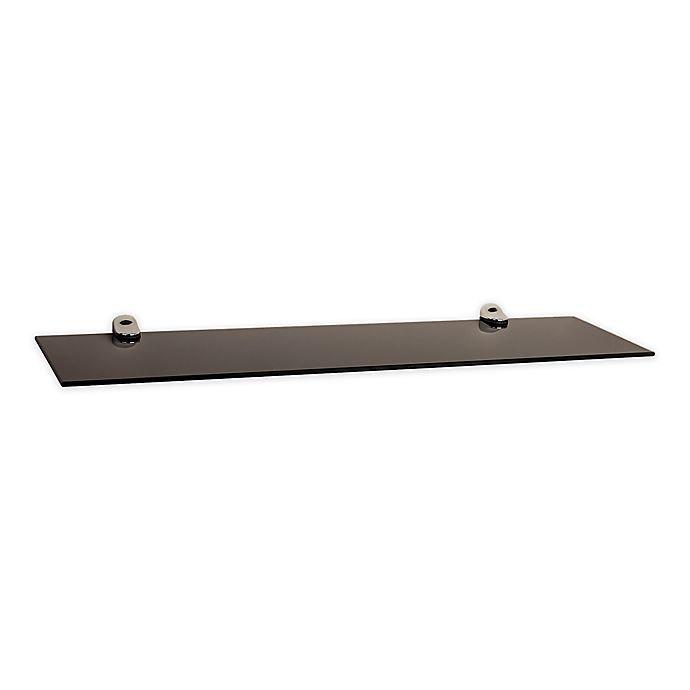 Alternate image 1 for Danya B.™ Smoke Glass Floating Shelf with Chrome Brackets in Black