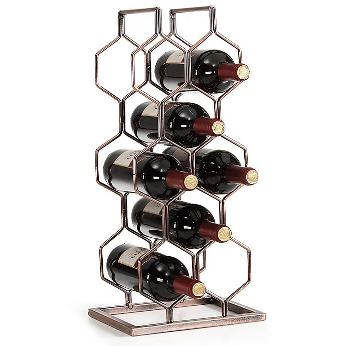 Alternate image 1 for Danya B. 8-Bottle Electroplated Wine Rack in Copper