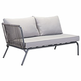 Zuo® Pier Outdoor Left Arm Facing Double Loveseat in Grey