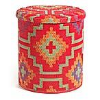 Lhasa Outdoor Round Storage Pouf in Orange/Violet