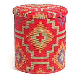 Lhasa Outdoor Round Storage Pouf in Orange/Violet