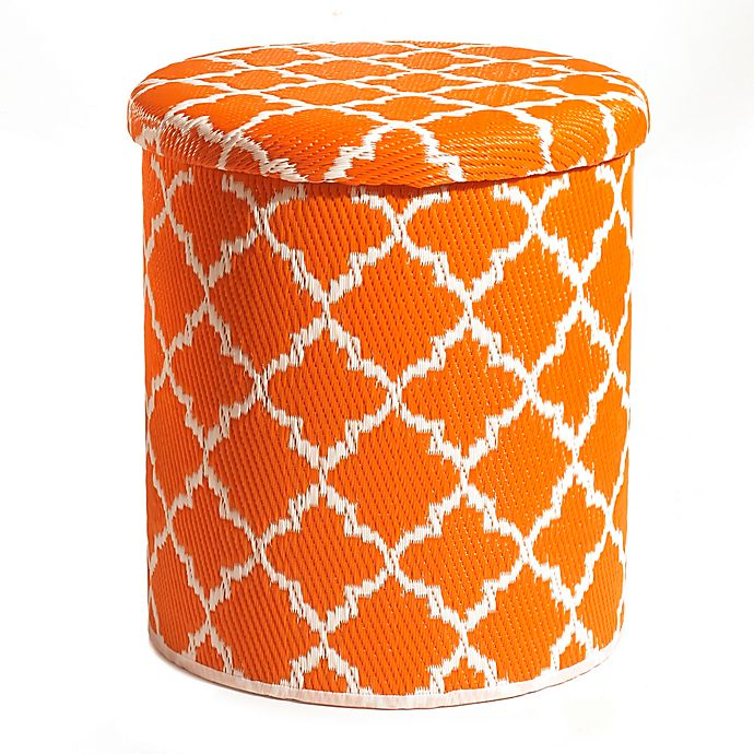 Alternate image 1 for Tangier Outdoor Round Storage Pouf in Carrot/White