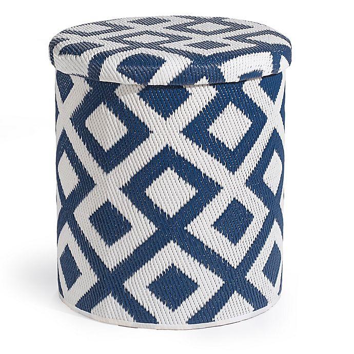 Excellent Marina Outdoor Round Storage Pouf In Indigo White Bed Bath Cjindustries Chair Design For Home Cjindustriesco