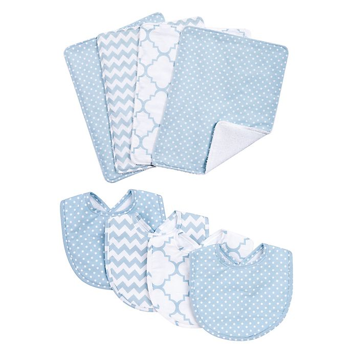 Alternate image 1 for Trend Lab® 8-Piece Blue Sky Bib and Burp Cloth Set in Blue