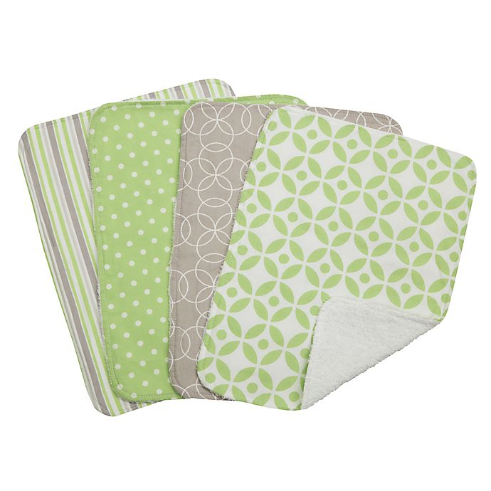Alternate image 1 for Trend Lab® 4-Piece Lauren Burp Cloth Set in Green