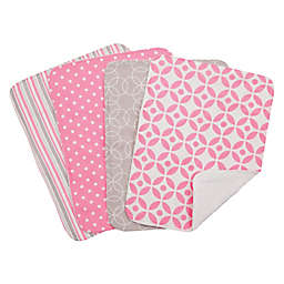 Trend Lab® 4-Piece Lilly Burp Cloth Set in Pink