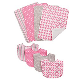 Trend Lab® 8-Piece Lilly Bib and Burp Cloth Set in Pink
