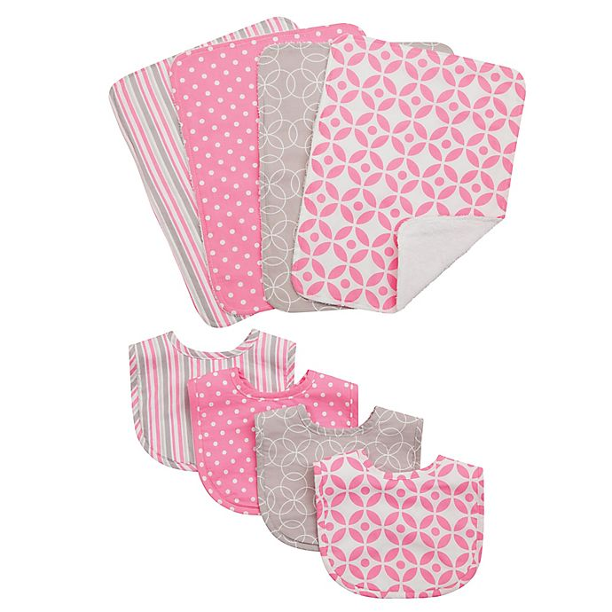 Alternate image 1 for Trend Lab® 8-Piece Lilly Bib and Burp Cloth Set in Pink
