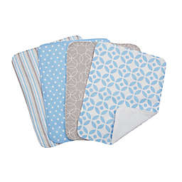 Trend Lab® 4-Piece Logan Burp Cloth Set in Blue