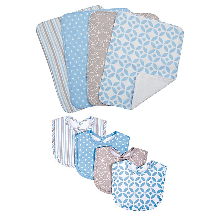 Alternate image 1 for Trend Lab® 8-Piece Logan Bib and Burp Cloth Set in Blue
