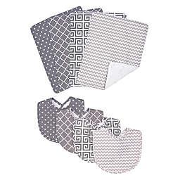 Trend Lab® 8-Piece Ombre Grey Bib and Burp Cloth Set