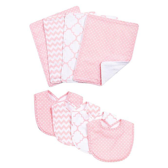 Alternate image 1 for Trend Lab® 8-Piece Pink Sky Bib and Burp Cloth Set