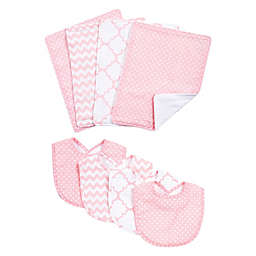 Trend Lab® 8-Piece Pink Sky Bib and Burp Cloth Set