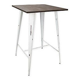 LumiSource Oregon Pub Table in White/Espresso