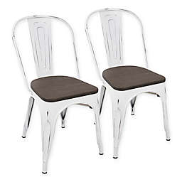 Lumisource Oregon Dining Chairs in White/Espresso (Set of 2)