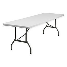 Flash Furniture Plastic Granite Rectangular Folding Table in White