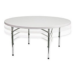 Flash Furniture Round Adjustable Plastic Folding Table in White