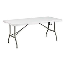 Flash Furniture Bi-Fold Plastic Folding Table in White