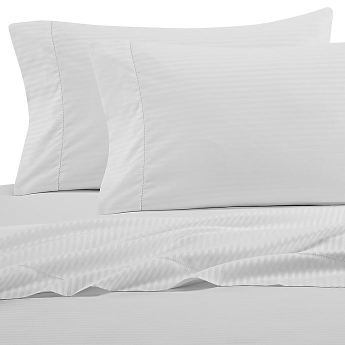 Alternate image 1 for Wamsutta® 525-Thread-Count PimaCott® Stripe King Pillowcase in White (Set of 2)
