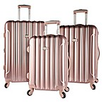 Kensie Metallic 3-Piece Hardside Spinner Luggage Set in Rose Gold
