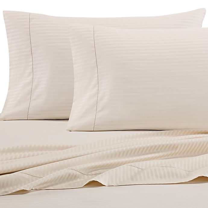 Alternate image 1 for Wamsutta® 525-Thread-Count PimaCott® Stripe Standard Pillowcase in Ivory (Set of 2)