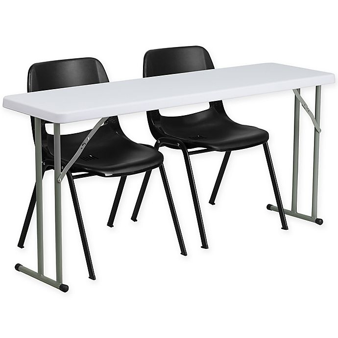Alternate image 1 for Flash Furniture 3-Piece Folding Table and Chairs Set in Black/White
