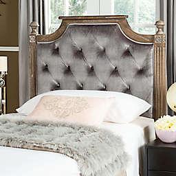 Safavieh Rustic Wood Tufted Velvet Twin Headboard in Grey