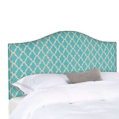 Safavieh Connie Headboard in Blue/White Diagonal Plaid