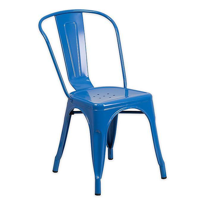 Alternate image 1 for Flash Furniture Indoor/Outdoor Stackable Metal Chair in Blue