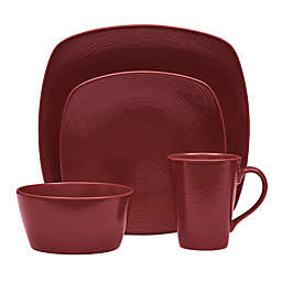 Noritake® Red on Red Swirl Square 4-Piece Place Setting