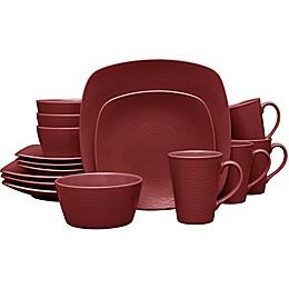 Noritake® Red on Red Swirl Square 16-Piece Dinnerware Set