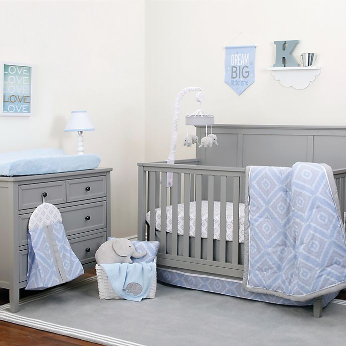 Alternate image 1 for NoJo® Dreamer Diamond 8-Piece Crib Bedding Set in Blue/Grey