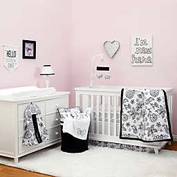 NoJo® Dreamer 8-Piece Floral Crib Bedding Collection in Black/White
