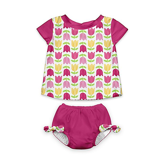 Alternate image 1 for i play.® 2-Piece Cap Sleeve Rashguard Shirt Set with Built-in Swim Diaper