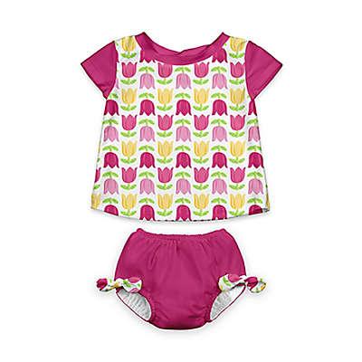 i play.® 2-Piece Cap Sleeve Rashguard Shirt Set with Built-in Swim Diaper
