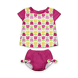 i play.® 2-Piece Cap Sleeve Rashguard Shirt Set with Built-in Swim Diaper