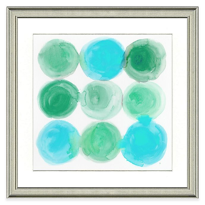 Alternate image 1 for Teal Circles Framed Watercolor Print Wall Art