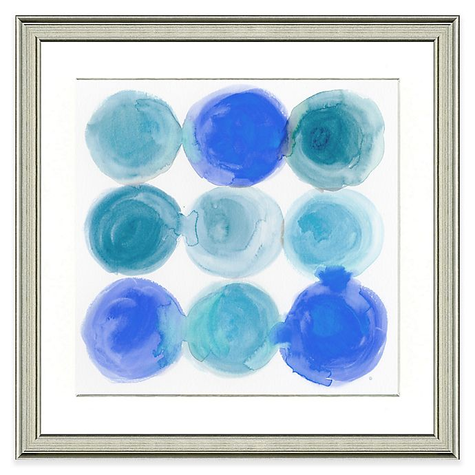 Alternate image 1 for Blue Circles Framed Watercolor Print Wall Art