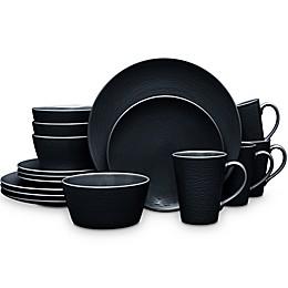 Noritake® Black on Black Swirl Coupe 16-Piece Dinnerware Set