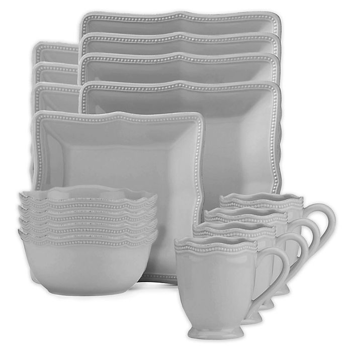 Alternate image 1 for Lenox® French Perle Bead Square 16-Piece Dinnerware Set in Grey