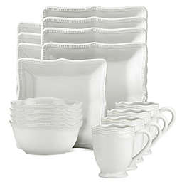 Lenox® French Perle Bead Square 16-Piece Dinnerware Set in White