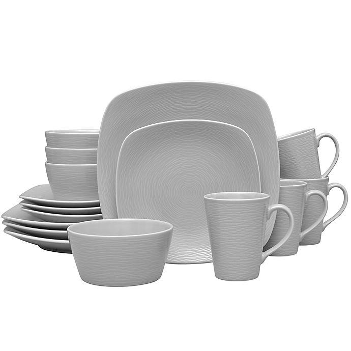 Alternate image 1 for Noritake® Grey on Grey Swirl 16-Piece Square Dinnerware Set