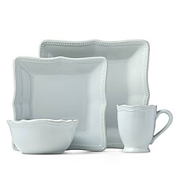 Lenox® French Perle Bead 16-Piece Square Dinnerware Set in Ice Blue